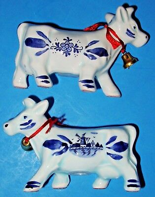 "Vintage Elesva Holland Delft Blue Salt & Pepper Shakers ""two Cows"", 3-5/8"" - New"