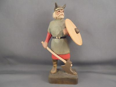Henning Norway Hand Carved Wood Viking Figure w Axe Shield 6 1/4""