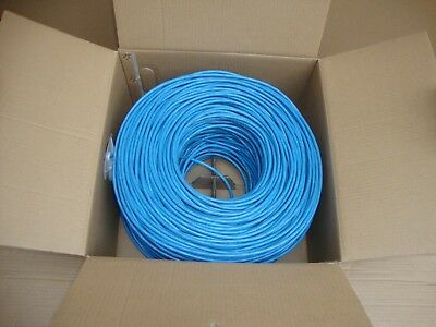 Plenum Cat6 Solid Copper Bulk Ethernet UTP 1000ft Cable Blue EWLLC
