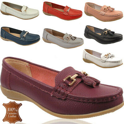 Ladies Genuine Leather Jo&Joe Loafers Moccasins Casual Office Work Slip On Shoes