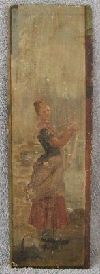 "ANTIQUE 1890's YOUNG FEMALE #2 ART NOUVEAU IMPRESSIONIST OIL PAINTING 13""x4"" NR"