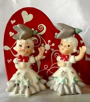 """Vintage NAPCO January""""Flower of the Month Series"""" Snowdrop Salt and Pepper"""