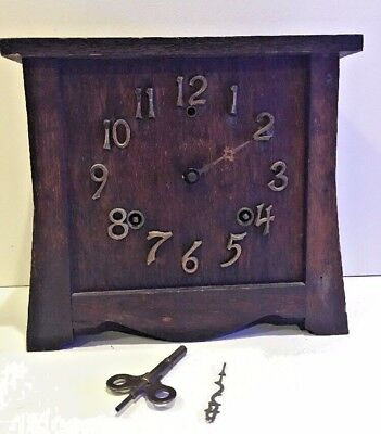 Vintage Arts and Crafts Mission Style Mantle Clock