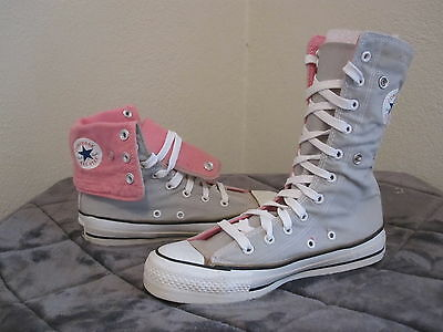 VTG Made In USA! NOS Converse All Star Gray/Pink  Fold Over Xtra Hi Tops Sz 4.5