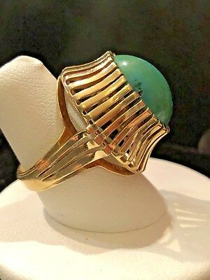 Antique Art Deco 14k  Yellow Gold English Persian Turquoise Large Ring Size 7.25