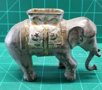 A.C. Williams Elephant Cast Iron Bank with swinging Trunk Howdah