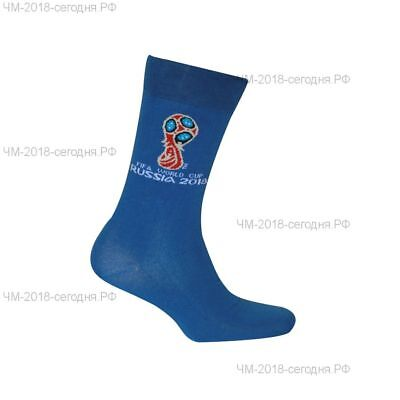 Russia Men sports socks with the official emblem of the FIFA Cup 2018(blue) RARE