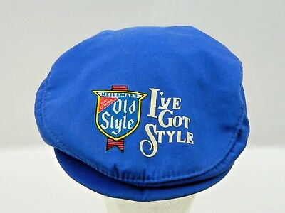 Rare Heileman's Old Style Beer Hat Flat Cap Snapback Adjustable Vtg News Boy
