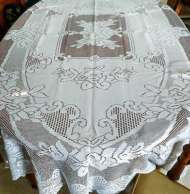 Nice Oblong Rectangle Lace Tablecloth 63 X 90 Floral White