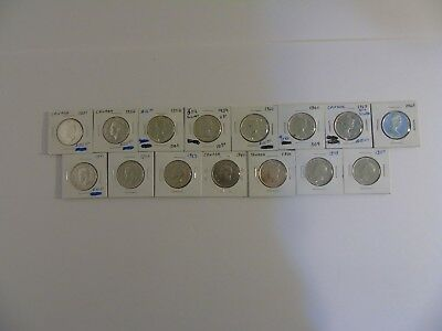 Bank of Canada  LOT OF 15 Silver 50 Cent Coins