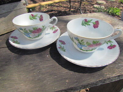 Tea Cups with Flowers Made in Japan Set of Two