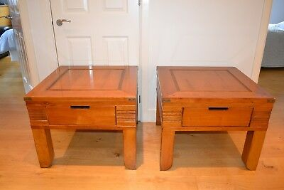 A Pair Of  De Bournay  Solid Fruitwood Side Table  70Cm X 70 Cm  With Drawer