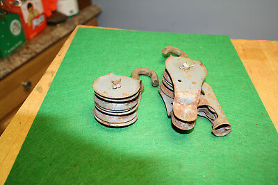 Antique steel Barn Pulleys~Lot Of 2