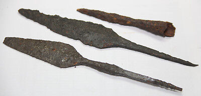 Ancient Viking IRON spearhead MILITARY  type  3 pc