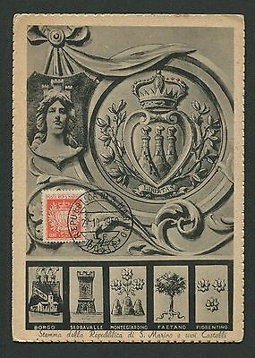 SAN MARINO MK 1950 WAPPEN BLAZON MAXIMUMKARTE CARTE MAXIMUM CARD MC CM c8999