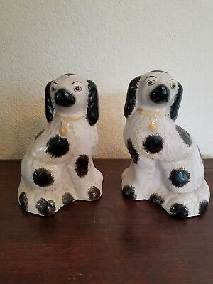 Vintage Fitz & Floyd Staffordshire  Style Porcelain  Dog Bookends
