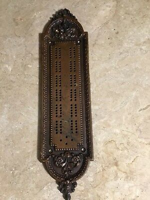 Antique Door Push Plate With Cribbage Board Design - Unusual