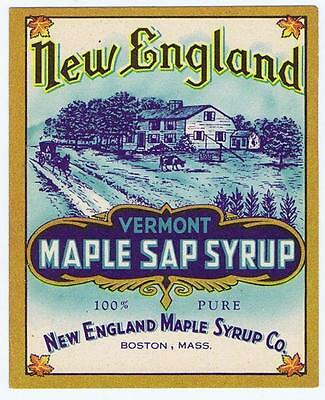 New England Maple Syrup Co, Vermont, Boston original vintage bottle label #121