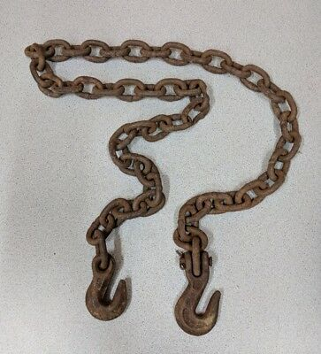 Vintage 4' Small Link Log Chain with Hooks,Upcycle,Rustic Decor,3.5 lb,Damaged