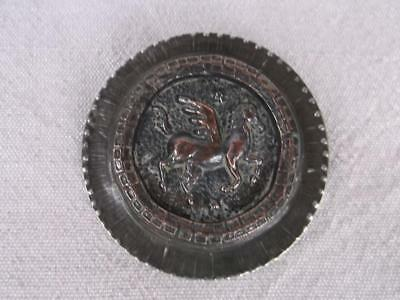 435 / Beautiful Arts And Crafts Mixed Metal Brooch With Pegasus The Winged Horse