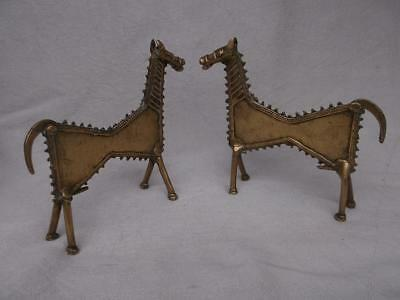 428 / Beautiful Pair Of Early 20Th Century Antique African Cast Bronze Horses