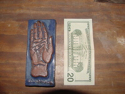 SALE! Collery Tile, The Lines of the Hand, Blue Glaze, Ready to Hang, Signed, NR