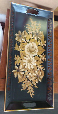 Chippendale Hand Painted Tole Tray Toleware Floral Black with Gold Flowers