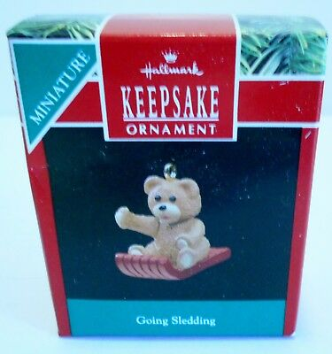 "1990 Hallmark Miniature Ornament ""Going Sledding"" Bear MIB"