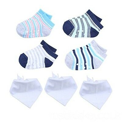 KimmyKu Baby Socks With Grips 0-6 Months Boy and White Bibs Set ---Sale