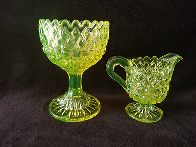 Vintage Vaseline Glass Diamond Compote with Matching Creamer