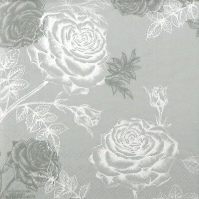 4x Paper Napkins for Decoupage Decopatch Craft Etching Roses Grey