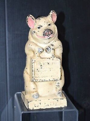 Old Vintage Hubley Cast Iron Piggy Bank Antique Thrifty The Wise Pig Nice
