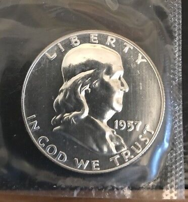 1957 Proof 90% Silver Franklin Half Dollar Sealed In Mint Cello Free S/H