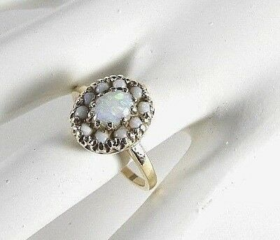 Vintage Solid 10K Yellow Gold Cocktail Ring Estate Stones Opal 9 Woman's 3.5 gm