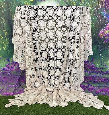 Vintage Hand Crochet Large Off White Cream Table Cloth