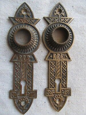 Victorian Antique Set Of Solid Brass Door Knob Back Plates
