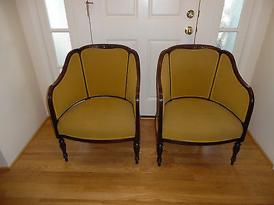 Beautiful Antique Pair Of George Iii Carved Mahogany Upholstered Bergeres Chairs