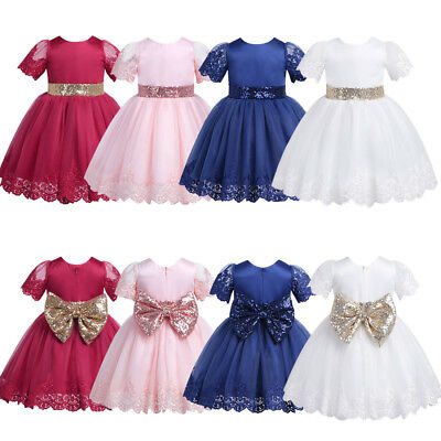 Infant Baby Girls Sequins Bow Tutu Dress Princess Wedding Party Birthday Skirt