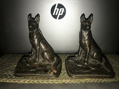 """Old Cast Iron Dog Figural Book Ends Bookends German Shepard 2 Pc 5"""""""