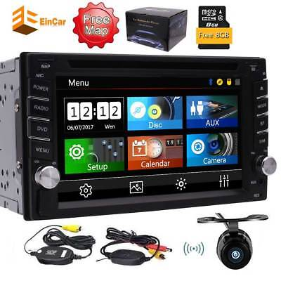 Double 2 Din DVD Player GPS Stereo FM AM Car Radio Bluetooth SWC Wireless Camera