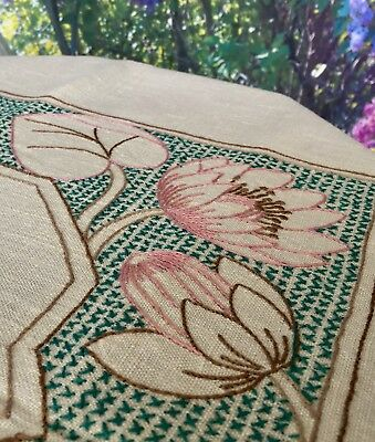 Sweet Vintage Hand Embroidered Pure Irish Linen Table Cloth