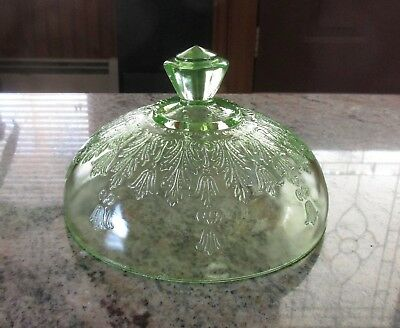 Vintage Anchor Hocking Green Depression Glass Princess Cover For Butter Dish