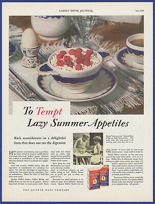 Vintage 1929 QUAKER PUFFED RICE Breakfast Cereal Food Kitchen Print Ad 20's