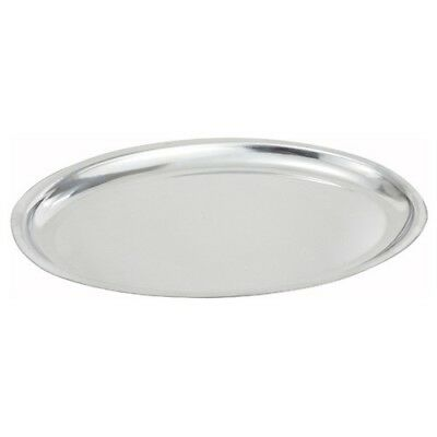 Winco SIZ-14, 14-Inch Oval Sizzling Platter, Stainless Steel (14x8-3/4)