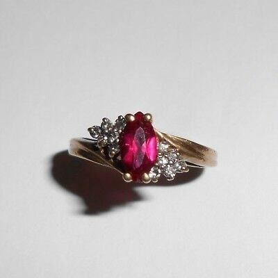 Estate Solid 10K Yellow Gold Ruby Red Gemstone Jewelry Gem Not Scrap 10KT 417 NR