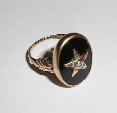 Estate Solid 10K Yellow Gold Eastern Star Ring Jewelry No Scrap 10KT 417 Diamond