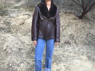 70s Womens Vintage Fur Shearling Leather Coat Jacket Small