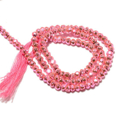 Pink Coated Pyrite Rondelle Faceted Beads/3.5mm To 4mm Beads/14 Inch Strand/M132