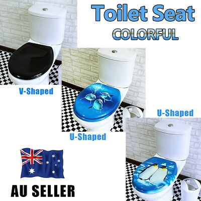 Universal Colorful Bathroom Toilet Seat Cover Lid Zinc Alloy Hinge Blue or Black