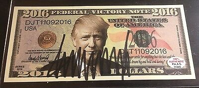 """President Donald Trump - Hand Signed 2016 """"federal Victory Note"""" - W/ Coa"""